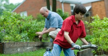 container gardening grandpa and grandson